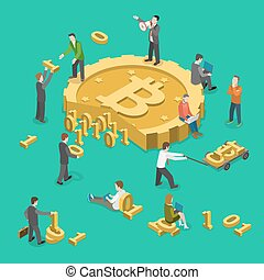 Bitcoin mining flat isometric low poly vector concept....