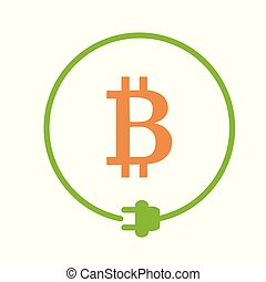 Bitcoin mining icon - Bitcoin sign in the circle of electric...