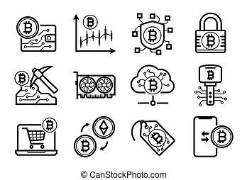 Bitcoin mining icons set in Black and White
