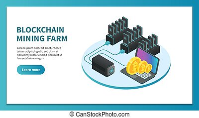 Bitcoin mining isometric concept. Cryptocurrency mining...