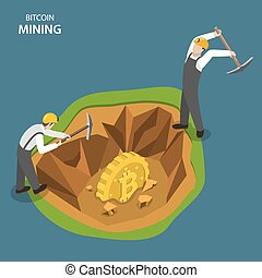Bitcoin mining isometric flat vector concept. Two miners are...