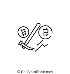 Bitcoin mining linear icon concept. Bitcoin mining line vector sign, symbol, illustration.