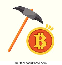 Bitcoin Mining Pickaxe Vector Illustration Graphic