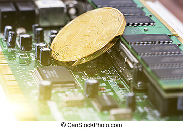 Bitcoin mining process - gold coin on computer circuit board with bitcoin processor and microchips. Electronic currency, internet finance rypto currency concept.