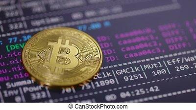 Bitcoin mining program at work close up footage