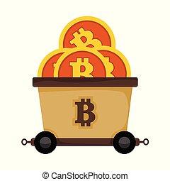 Bitcoin Mining Railroad Cart Train Vector Illustration Graphic