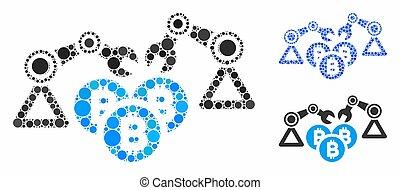 Bitcoin Mining Robotics Mosaic Icon of Circle Dots