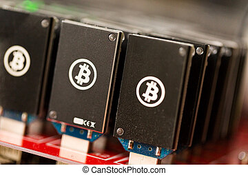 Bitcoin mining USB devices on a large USB hub.