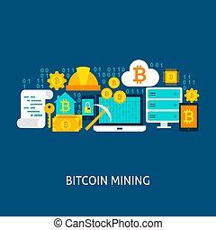 Bitcoin Mining Vector Concept