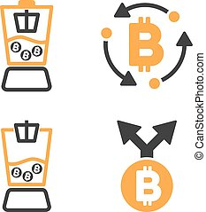 Bitcoin Mixer Vector Icon Set