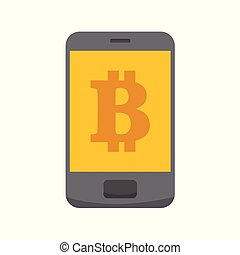 Bitcoin Mobile App Vector Illustration Graphic