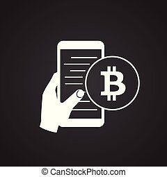 Bitcoin mobile device on black background