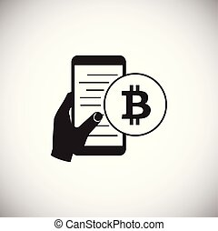Bitcoin mobile device on white background