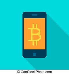 Bitcoin Mobile Flat Icon