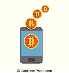 Bitcoin Mobile Mining Transfer Vector Illustration Graphic