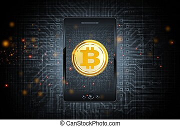 Bitcoin Mobile Phone Transfer via Bitcoin Trading Application. Conceptual Illustration with Smartphone and Circuit Board Background.