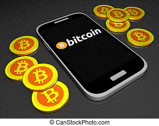 Bitcoin mobile wallet - Computer generated photo of a...