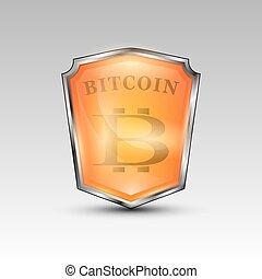 bitcoin, moeda corrente, vermelho, escudo