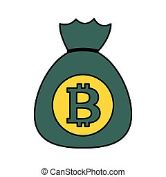 bitcoin money bag cryptocurrency on white background