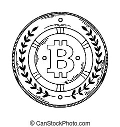 Bitcoin money engraving vector illustration