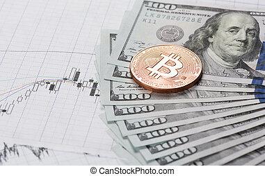 bitcoin, monnaie, à, argent