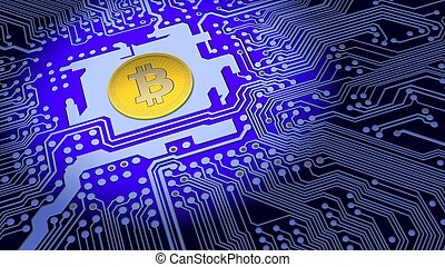 Bitcoin mounted on a blue circuit board - Bitcoin in the...