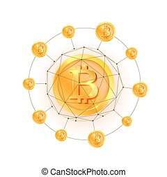 Bitcoin network 3d polygon