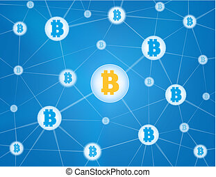 Bitcoin network blue background - Bitcoin currency system...