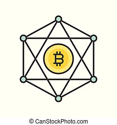 Bitcoin network outline icon