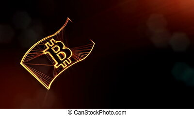 bitcoin on a paper banknote. Financial background made of glow particles as vitrtual hologram. Shiny 3D loop animation with depth of field, bokeh and copy space. Dark V4