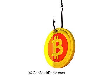 Bitcoin on fishing hook - 3D illustration of golden bitcoin...