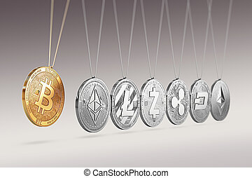 Bitcoin on Newton's cradle boosts and accelerates other...