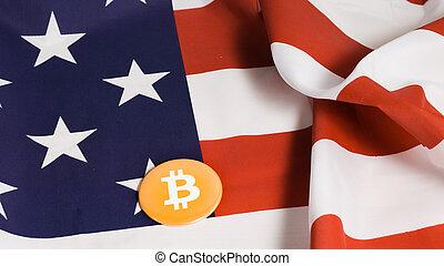 Bitcoin on US flag