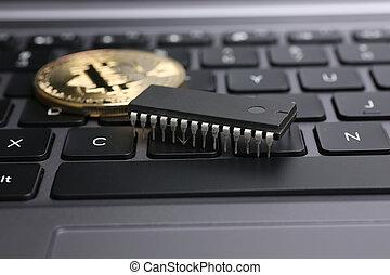 bitcoin, op, draagbaar computer toetsenbord
