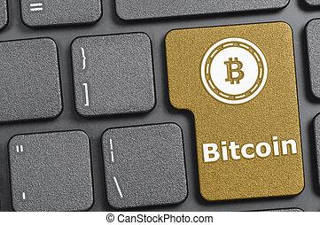 bitcoin, op, toetsenbord