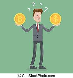 Bitcoin or dollar. - Bitcoin or dollar choice. Businessman...