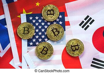 bitcoin, oro, color, en, el, bandera, de, países