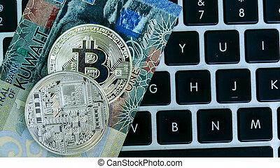 bitcoin, på, kuwait, dinar, sedel