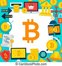 Bitcoin Paper Template. Vector Illustration Flat Style...