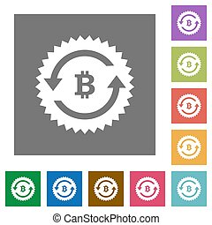 Bitcoin pay back guarantee sticker square flat icons
