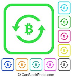 Bitcoin pay back vivid colored flat icons in curved borders...