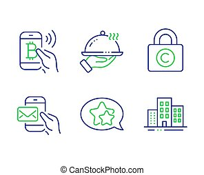 Bitcoin pay, Copyright locker and Star icons set. Restaurant food, Messenger mail and Buildings signs. Vector