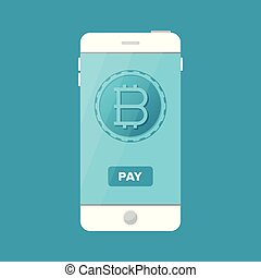 Bitcoin payment accepting service vector concept in flat style