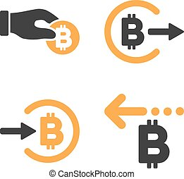 Bitcoin Payment Vector Icon Set