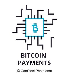 bitcoin payments thin line icon, sign, symbol, illustation, linear concept, vector