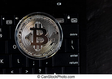 bitcoin, pc, noir, clavier, monnaie, argent