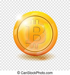 Bitcoin. Physical bit coin. Digital currency. Cryptocurrency. Golden coin with bitcoin symbol isolated on transparent background. vector illustration EPS 10.