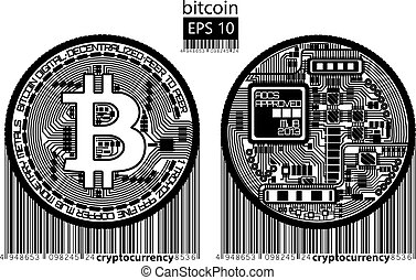 Bitcoin. Physical bit coin. Digital currency. Cryptocurrency. Golden double sided coin with bitcoin symbol isolated on white background. Vector illustration.