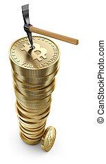 bitcoin, pioche, pile