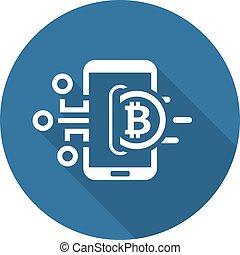 bitcoin, portefeuille, icon.